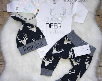 4f4dbe7350e94 Oh Deer I am here Outfit Take Home Baby Boy Outfit Newborn Baby Boy Outfit  Deer Outfit Boy Navy Deer Pants Baby Shower Gift