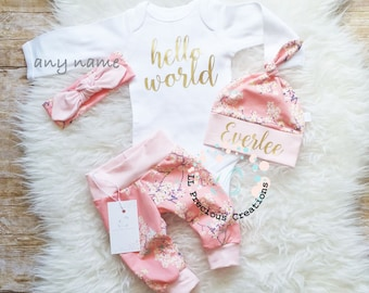 Baby Girl Coming Home Outfit  Newborn Girl Outfit Hello World  Baby Girl Outfit Floral Outfit Baby Shower Gift Cherry Blossom