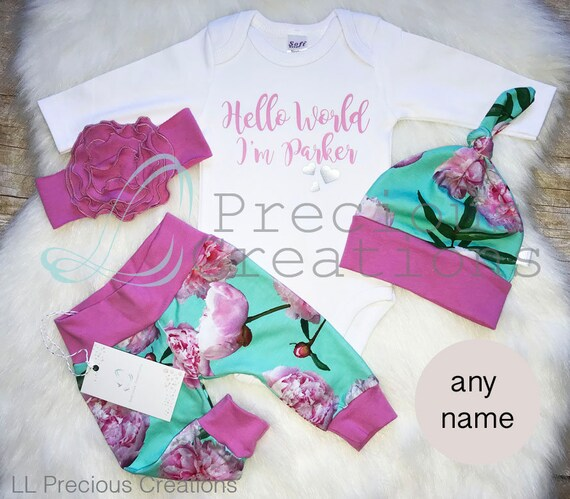 17c77954755e Baby Girl Coming Home Outfit Baby Girl Clothes Newborn Organic Personalized  Baby Outfit Aqua Pink Floral Euro Print
