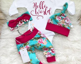 Baby Girl Coming Home Outfit  Newborn Girl Outfit Hello World  Baby Girl Outfit Photo Prop Floral Outfit  Baby Shower Gift Baby Gift