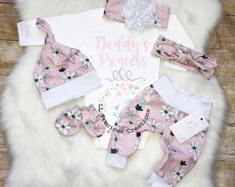 Newborn Baby Girl Outfit Baby Girl Coming Home Outfit Baby Girl Leggings Daddy's Princess Euro Fabric Baby Shower Gift
