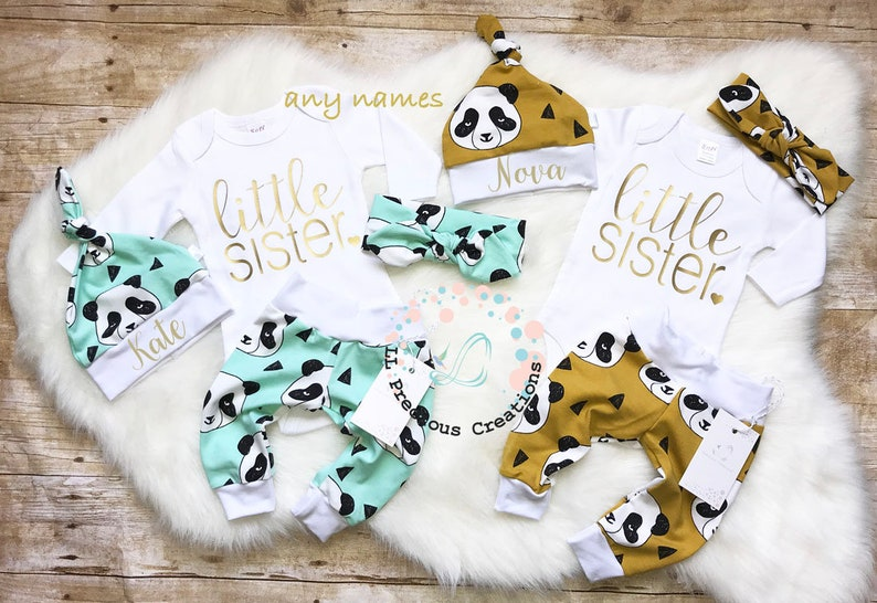 54bb9b161 Twins Personalized Girls Coming Home Outfit Newborn Outfit   Etsy