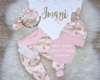 Baby Girl Coming Home Outfit Baby Girl Clothes Monogrammed Bodysuit Personalized Baby Outfit Blush Outfit Bloomers