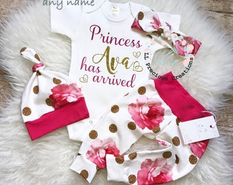 Baby Girl Coming Home Outfit Baby Girl Clothes Monogrammed Bodysuit Personalized Baby Outfit Floral Girl Outfit Gold Glitter