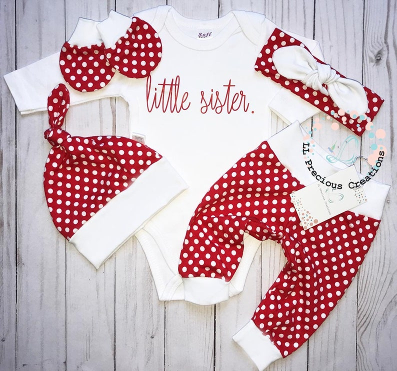 Little Sister Coming Home Outfit Baby Girl Clothes Newborn Girl Outfit Red Polka Dot Baby Mitts