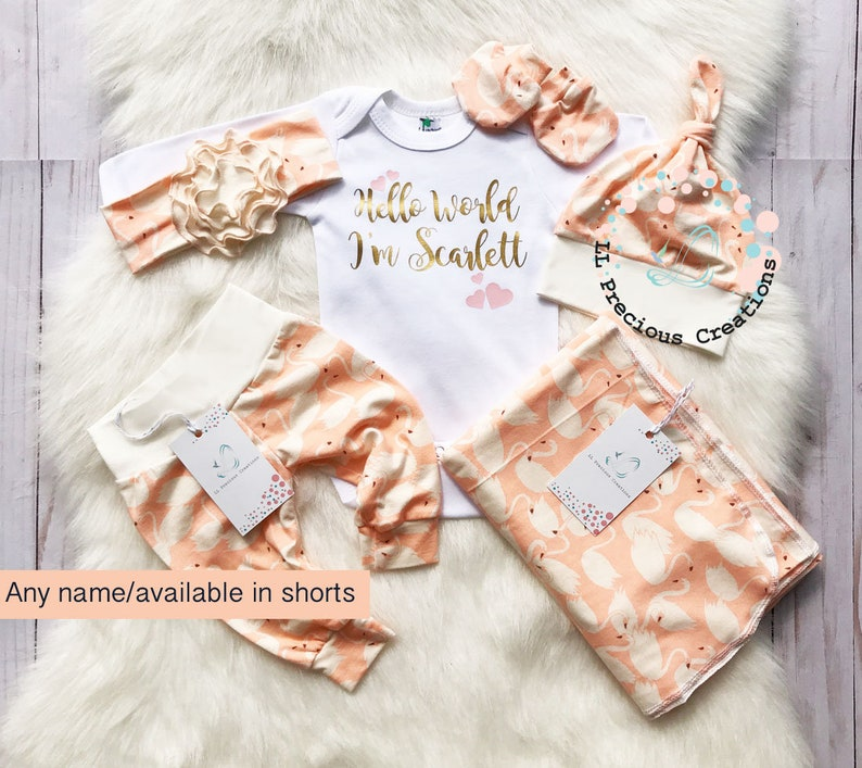 f04660feac79 Organic Coming Home Outfit Hello World Girl Personalized