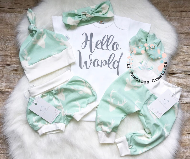 51d8f8accb7e Hello World Baby Girl Outfit Newborn Baby Girl Outfit Coming