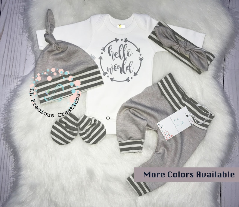 Hello World Outfit Newborn Coming Home Outfit Grey Stripes Baby Girl Clothes Baby Mittens Gender Neutral More Colors