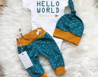 Hello World Baby Boy Outfit Take Home Outfit  Newborn Baby Boy Outfit  Newborn Boy Clothes Teal Outfit Baby Shower Gift  Photo Prop