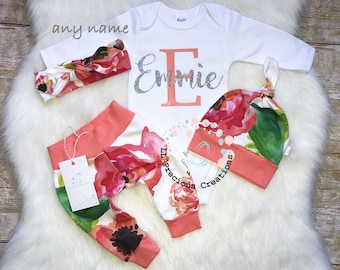 Baby Girl Coming Home Outfit Baby Girl Clothes Monogrammed Bodysuit Birthday Girl Outfit Photo Prop Personalized Baby Outfit