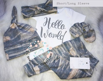 Organic Baby Coming Home Outfit Gender Neutral Newborn Outfit Hello World Outfit Baby Boy Girl Outfit  Distressed Jean Outfit Euro Print