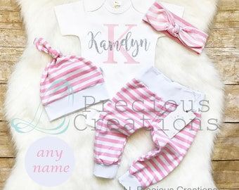 Baby Girl Coming Home Outfit Baby Girl Clothes Personalized Baby Outfit Pink Girl Outfit Newborn Baby Girl Outfit Pink Stripe Glitter Outfit