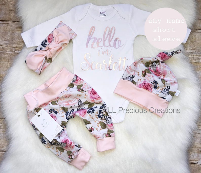20ceadba2c7 Baby Girl Coming Home Outfit Organic Hello World Outfit Newborn Girl Outfit  Personalized Outfit Baby Girl Clothes Pink Floral Euro Print