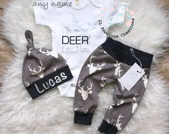 Coming Home Baby Boy Outfit  Oh Deer I am here Outfit Newborn Baby Boy Outfit  Deer Outfit  Baby Shower Gift  Photo Prop Personalized outfit