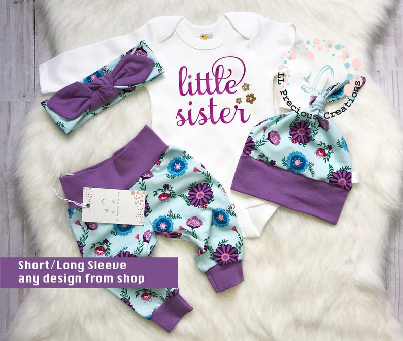 186f9b8be202 Newborn Coming Home Outfit Baby Girl Clothes Purple Floral