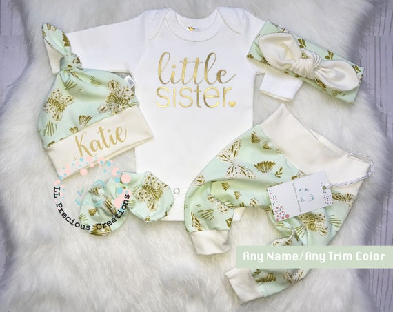 Little Sister Coming Home Outfit Baby Girls Clothes Newborn Baby Shower Gift