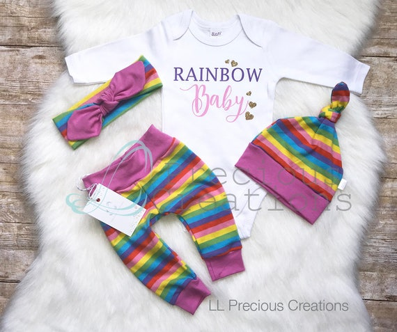 Rainbow Baby Newborn Baby Girl Outfit Coming Home Outfit Baby  9be5242573d3