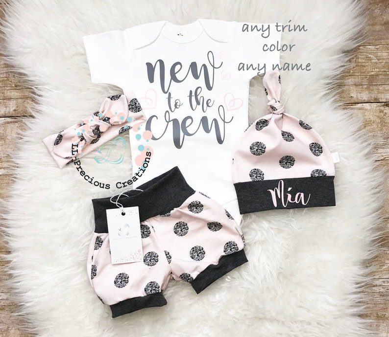 New to the Crew Baby Girl Outfit  Newborn Girl Outfit Shorts Outfit Bloomers Photo Prop Polka Dot Pink Grey Shorts Baby Girl Clothes