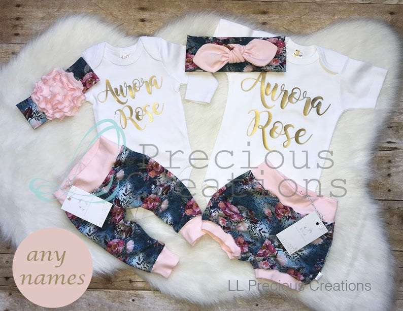 af5394462 Coming Home Outfit Organic Newborn Baby Girl Clothes Siblings   Etsy