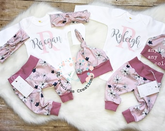 Twins Girls Coming Home Outfit Newborn Outfit Organic Baby Girl Outfit Twin Sisters Pink Outfit Floral Outfit Personalized Outfit