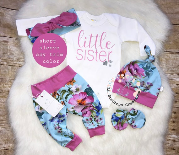 a84514448086 Newborn Coming Home Outfit Baby Girl Clothes Little Sister