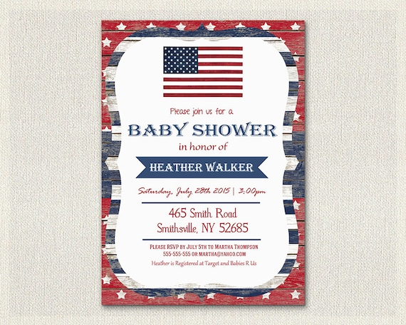 baby shower 4th july invitation fourth of july red blue and white