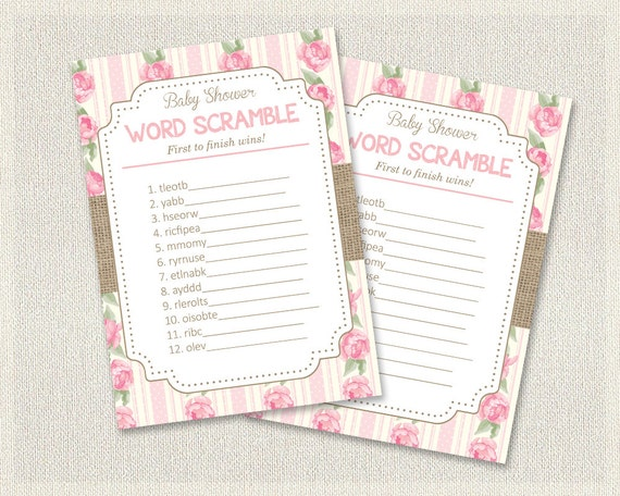 Shabby Chic Baby Shower Word Scramble Floral Burlap