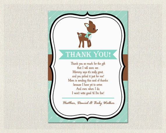 graphic relating to Printable Baby Shower Thank You Cards named Deer Boy or girl Shower Thank Your self Card Deer Eco-friendly Brown Thank By yourself