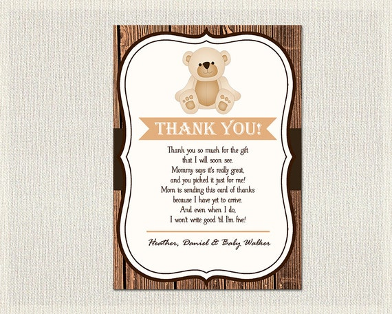 Teddy Bear Baby Shower Thank You Card Teddy Bear Rustic Wood Etsy