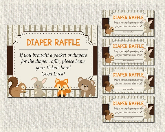 diaper raffle tickets sign inserts woodland baby shower boys