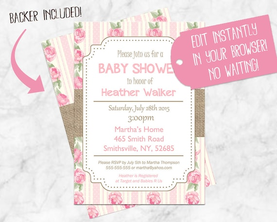 Shabby Chic Baby Shower Invitations Floral Baby Shower Invitation