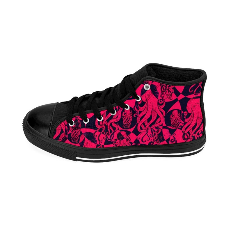 Women/'s High-top Sneakers Pink and Black Octopus Pattern
