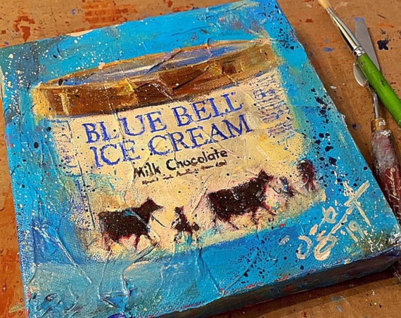 """Blue Bell - Milk Chocolate"" - 8""x8"" - Acrylic, Palette Knife & Brush Painting on Canvas by Jacob Secrest"
