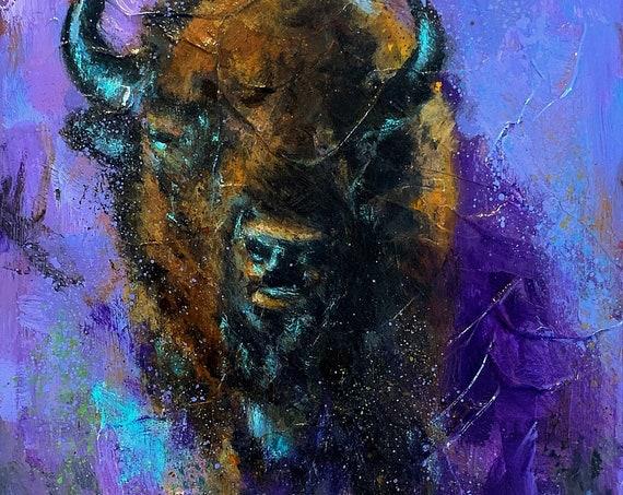 """Untitled - Buffalo - Juniper Mountain Ranch"" - 10""x8"" - Acrylic on Board"