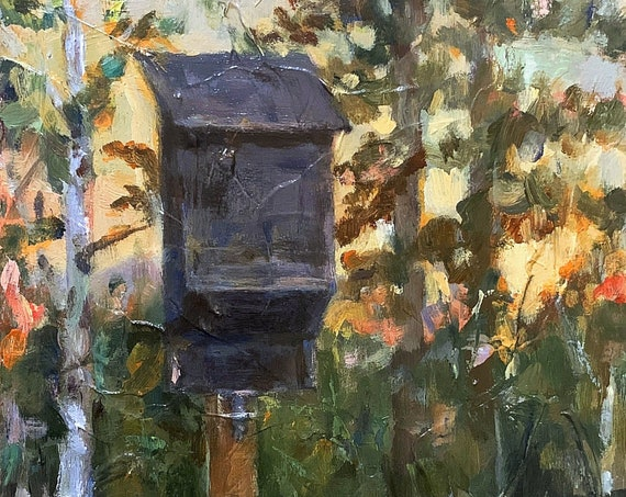 """""""Untitled - Bat House at Harriman State Park"""" - 10""""x8"""" - Acrylic on Panel"""