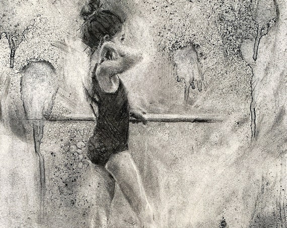 """Tiny Dancer"" - 12""x9""- Charcoal on Paper"