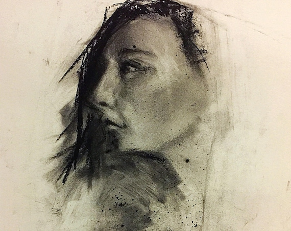"""Untitled - Life Drawing Portrait"" - 12""x9"" - Framed - Charcoal on Paper"