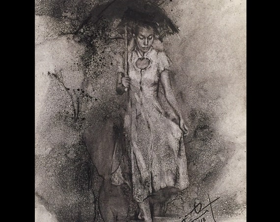 """Just a Moment"" - Umbrella Girl - 12""x9"", Award-Winning Framed Art Original Charcoal Drawing on Paper by Jacob Secrest"