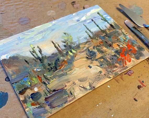 """""""Saguaro National Park Study"""" - 5""""x7"""" - Acrylic on Panel"""