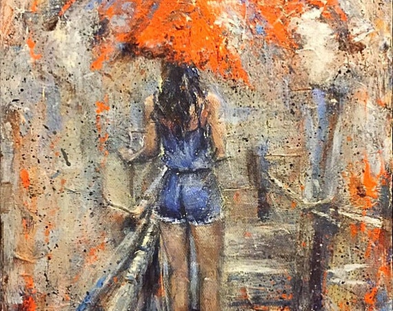 "Umbrella Girl - Untitled - 12""x9"" - Acrylic on 1 1/2"" Gallery Wrapped Canvas"