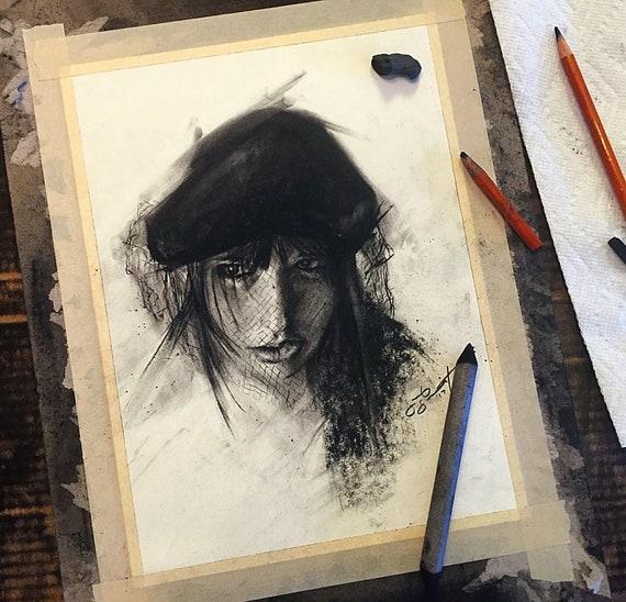 """Black Veil - Nicole"" - 12""x9"" - Charcoal on Paper"