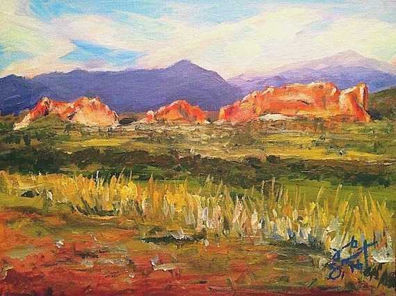 """Overlook of Garden of the Gods"" - 9""x12"" - Pikes Peak - Acrylic on Board"