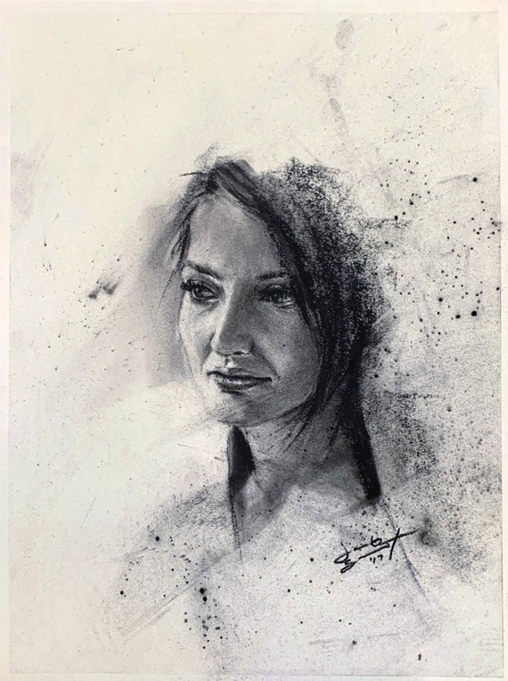 """""""Untitled - Big Art Expo Demo - Danielle"""" - 12""""x9"""" - Charcoal on Paper"""