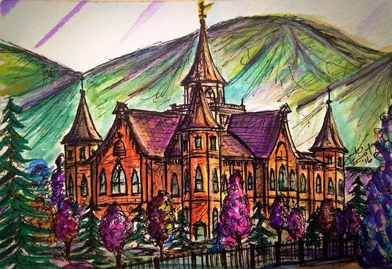 """Provo City Center Temple - 5""""x7"""" - Watercolor/Ink on Paper"""