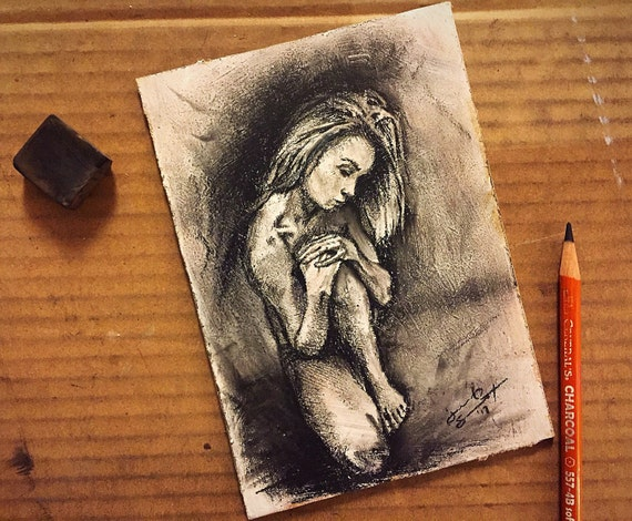 """Seated Figure Study"" - 7""x5"" - Charcoal & Sanguine on Gesso Painted on Board"