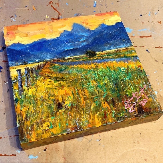 """Untitled - Tetons"" - 10""x10"" - Acrylic on 1 1/2"" Gallery Wrapped Canvas"
