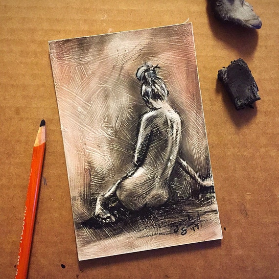 """Seated Figure Study"" - 6""x4"" - Charcoal & Sanguine on Gesso Painted on Board"
