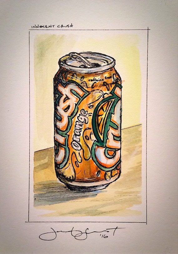 "Orange Crush - ""Innocent Crush"" - 5""x3""on 7""x5"" - Watercolor/Ink on Illustration Board"
