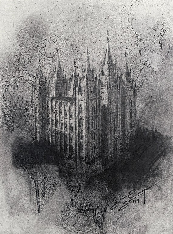 """Salt Lake Temple"" - 12""x9"" - Charcoal on Paper by Jacob Secrest"