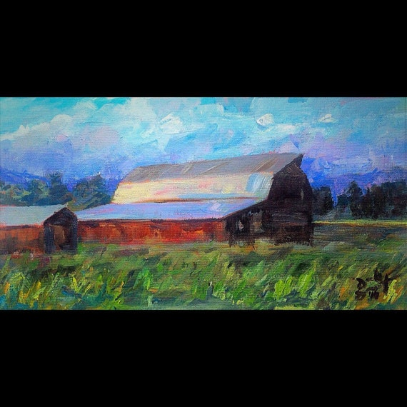 """Red Barn in Jackson Hole"" - 7 1/2""x14"" - Framed Acrylic on Board"
